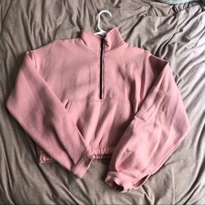 Pink oversized zip Front sweater